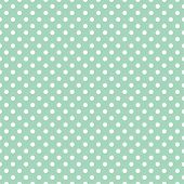 stock photo of dots  - Seamless vector pattern with white polka dots on a retro vintage mint green background - JPG