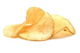 picture of potato chips  - Three potato chips isolated on a white background - JPG
