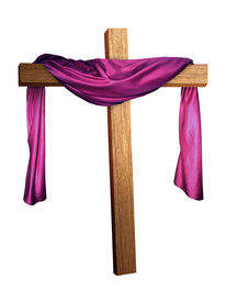 image of christian cross  - a cross with a purple robe draped over it - JPG
