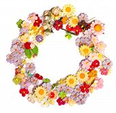 picture of handicrafts  - colorful of handicraft paper flower lay out as a cycle 
