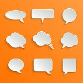 stock photo of bubbles  - Abstract Vector White Speech Bubbles Set on Orange Background - JPG