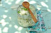 Cooked Rice With Mint And Lemon Zest In A Jar, Picnic Meal, Shallow Depth Of Field