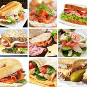 stock photo of bagel  - Collage of delicious sandwiches - JPG