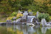 Cascade Waterfall In Japanese Garden, Hasselt, Belgium