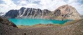 Amazing turquoise lake Ala-Kul, Kyrgyzstan
