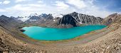 Panorama of Ala-Kul lake in Tien Shan mountains