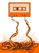 picture of magnetic tape  - Cassette Tape Unraveled Mess of unspooled tape - JPG