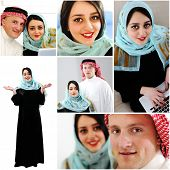 Collage of arabic couple, wife and husband