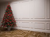 picture of laminate  - classic interior with a Christmas tree  - JPG