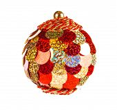 Red Dull Christmas Ball On White Background