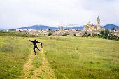 Happy Photographer Because Of Beautiful Toledo Panorama