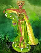 stock photo of garden snake  - Green snake goddess - JPG