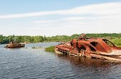 Wrecked Abandoned Ship On A River