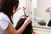 pic of hair dye  - Brunette woman in hairdressing beauty salon - JPG