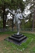 stock photo of lenin  - Silver Lenin Monument preserved in the Lake Baikal resort of Goryachinsk - JPG