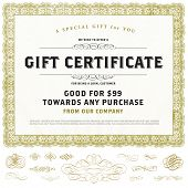 Vector gold gift certificate set with ornaments. Great for diplomas, certificates, and awards.