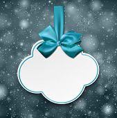 Holiday cloud gift card with blue ribbons and satin bows. Vector illustration.