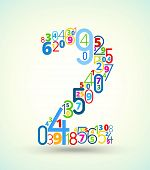 Number 2, colored vector font from numbers