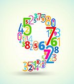 Number 9, colored vector font from numbers