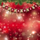 Happy New Year background with hanging pennant on bokeh lights