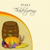 Happy Thanksgiving Day concept with wooden basket,fruits and vegetables on abstract background, can