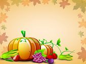 stock photo of brinjal  - Happy Thanksgiving Day concept with fruits - JPG