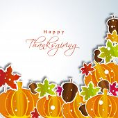 Happy Thanksgiving Day concept with pumpkins and maple leaves with space for your text, can be use a