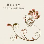 Floral decorated Happy Thanksgiving Day background with turkey bird, can be use as flyer, banner or poster.