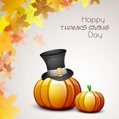 Happy Thanksgiving Day celebration concept with pumpkin, pilgrim hat ad maples leaves on grey backgr