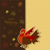 Happy Thanksgiving Day concept with beautiful turkey bird on seamless maple leaves decorated background, can be use as flyer, banner or poster.