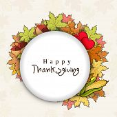 Happy Thanksgiving Day concept with colorful autumn leaves and space for your text.
