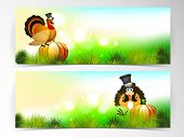 Happy Thanksgiving Day website header or banner set with with beautiful turkey bird, fruits and vege