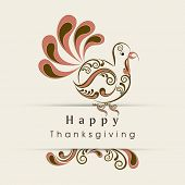 Beautiful floral decorated turkey bird for Happy Thanksgiving Day celebration, can be use as flyer, banner or poster.