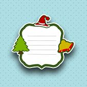 Merry Christmas celebration sticker, tag or label with text space decorated with Santa Hat, Jingle B