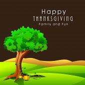 Happy Thanksgiving Day celebration concept with pumpkin under green tree on nature background, can be use as flyer, banner or poster.
