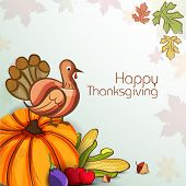 Happy Thanksgiving Day celebration concept with vegetables, fruits and turkey bird on autumn leaves decorated background, can be use as flyer, banner or poster.