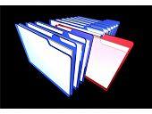 A row of folders