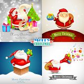 illustration of Merry Christmas background with Santa Claus