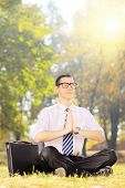 picture of stressless  - Young businessperson with eyeglasses doing yoga exercise seated on a green grass in a park - JPG