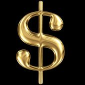 Golden shining metallic 3D symbol dollar sign $ isolated on black