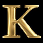 Golden shining metallic 3D symbol capital letter K - uppercase isolated on black