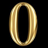picture of zero  - Golden shining metallic 3D symbol number zero 0 isolated on black - JPG