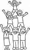 Pyramid Cheer Children Line Art