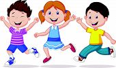 Happy children cartoon running