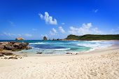 Beach and rocky coastline at the easternmost point of Guadeloupe, Pointe des Ch�?�¢teaux