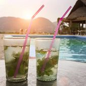 picture of mojito  - Two fresh and tasty mojito with swimming pool background in tropical hotel - JPG