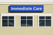 Immediate Care Sign Outside Hospital Building