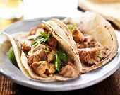 stock photo of cilantro  - authentic mexican tacos with chicken and cilantro - JPG