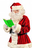 Traditional Santa Claus reading a list of good boys and girls in his notebook. Christmas. Isolated o