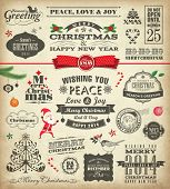 Christmas design elements in vintage style